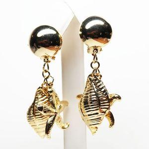 Jewelry - VINTAGE 1960s NAUTICAL SEASHELL STATEMENT EARRINGS